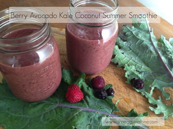 Berry Avocado Kale Coconut Summer Smoothie