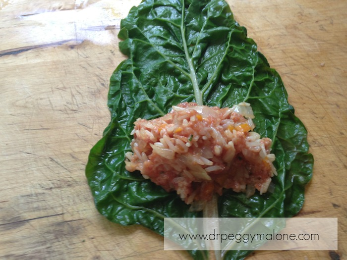 Meat Mixture on Swiss Chard Leaf